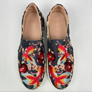 TOPSHOP Embroidered Koi Fish Sequins Slip Ons